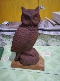 漂亮大个铸铁猫头鹰摆件或者香插,16*12*29cm