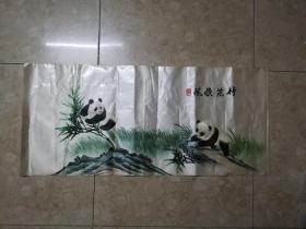 精美可爱的文革熊猫竹子纹湘绣画片