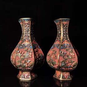古玩收藏手绘彩漆器梅兰竹菊瓶手工彩绘蓬莱仙境花瓶摆件一对L