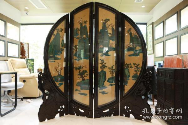 【海外回流 嵌天然百宝山水风景图四页屏风】
