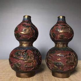 古玩收藏漆器手绘彩葫芦瓶中式复古家居装饰摆件收藏品L