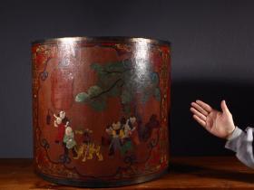旧藏:乾隆款·大漆童子嬉戏卷缸