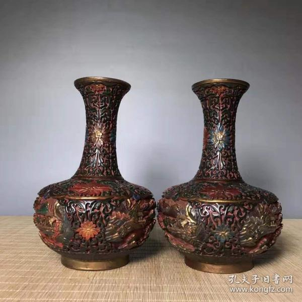 Antique collection lacquerware hand-painted colorful vase handmade painted flowers blooming rich vase decoration pair L