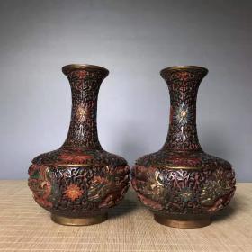古玩收藏漆器手绘彩花瓶手工彩绘花开富贵花瓶摆件一对L