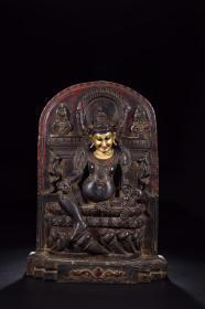 清代:木胎漆金黄财神坐像
