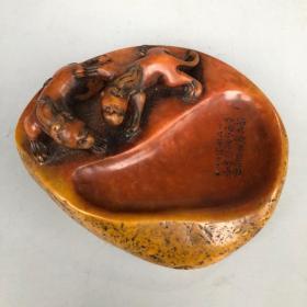 珍藏著名艺术家汪士元之作寿山石朱砂红原石瑞兽砚台文房用具摆件