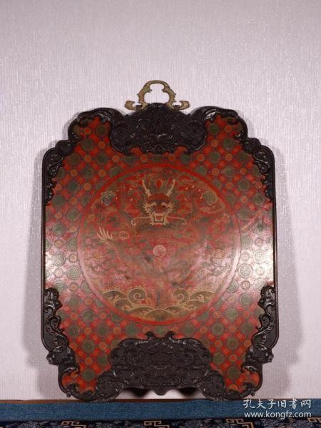 旧藏:紫檀嵌大漆龙戏珠挂板