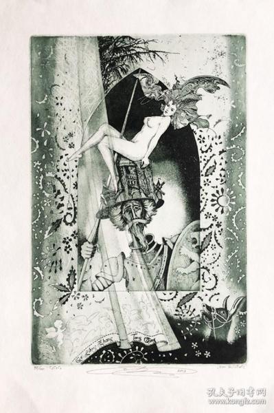 奥列格•那勃卡(Oleg Naboka)藏书票版画原作《堂吉诃德》乌克兰 大尺寸