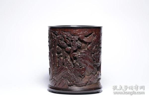 清代:竹雕人物故事笔筒