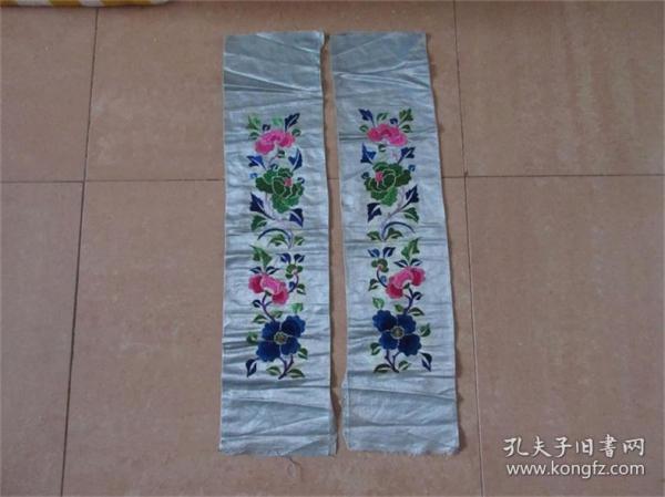 老刺绣品绣工精品蓝禄红牡丹花卉刺绣片一对民风民俗历史记忆收藏
