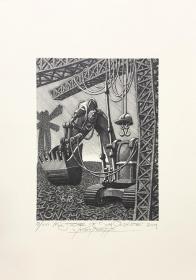 沃特科•瓦尔奇克(Wojtek Kowalczyk)藏书票版画原作《堂吉诃德》波 兰 大尺寸