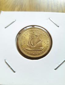 航海帆船美铜币 英属东加勒比地区5分 1965年