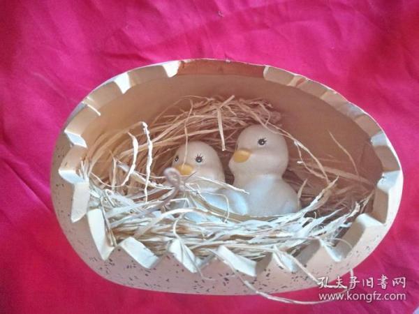 旧泥淘制品 两只小鸭子蛋巢穴有趣动物摆件 陶瓷器摆设品
