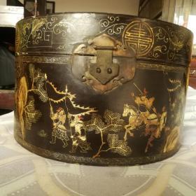 漆帽盒黑大漆描金官帽盒古玩漆器