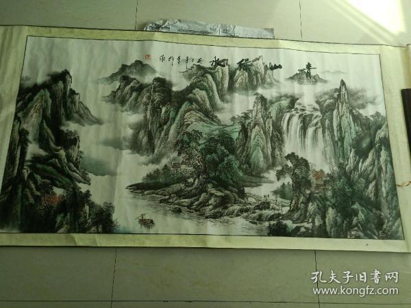 《青山绿水》手绘挂画 山水画 中堂画 国画