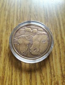日本2009年 大藏省造币局生肖铜章 牛年纪念币