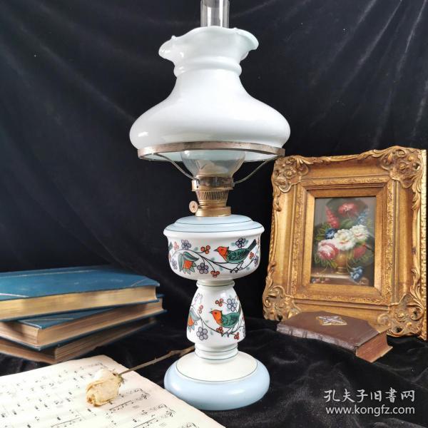 【奥地利 古董瓷底煤油灯】