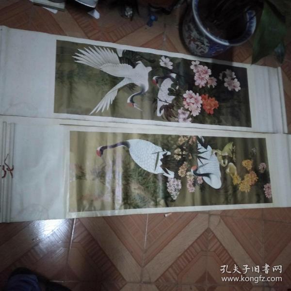 80年代天津杨柳青-仙鹤四条屏