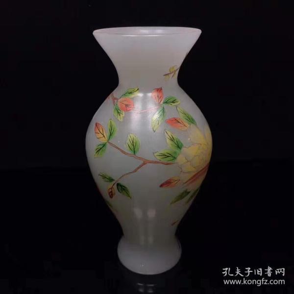 古玩收藏·古法琉璃花瓶手工手绘装饰品工艺品X