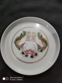 七八十年代出口精品描金双凤瓷盘  尺寸如图  好品