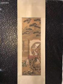 清代时期冷枚仕女图丝绢立轴一幅,画工精美细致独特,保老保真保手绘。