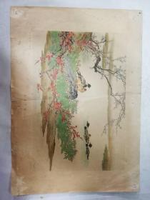小画片——湖边早春(孙奇峰  刘子久 作)(1956年国画)