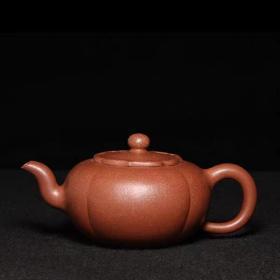 台湾回流老紫砂壶清代独孔老茶壶古代名家制铺沙老料筋纹柿饼壶