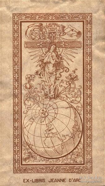 D.A.Cordier~里尔圣女贞德学院图书馆藏书票原作