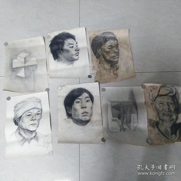 包邮著名画家、国家一级美术师、中国艺术家美术馆馆长 朱世琴 素描画稿7张 保真