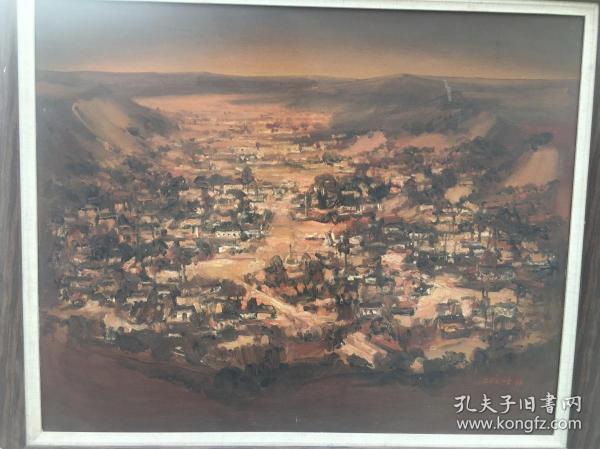 名家油画原创作品,中国美协会员,2005年创作《乡村》,高保值,100%保真