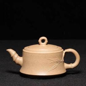 台湾回流老紫砂壶文革老茶壶 中国宜兴款 老段泥竹圈壶
