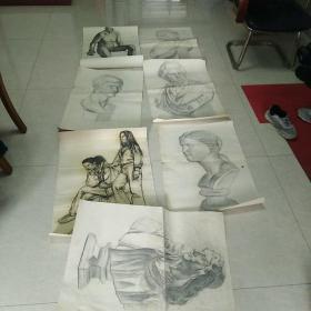 包邮 著名画家、国家一级美术师、中国艺术家美术馆馆长 朱世琴 素描画稿7张(其中一张为双面作品共8副作品)保真