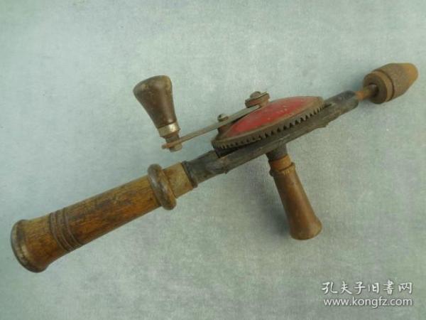 *FWPY3AC-可进博物馆的少见木工老工具手钻手摇钻,早期机械复杂老钻头非电钻手枪钻