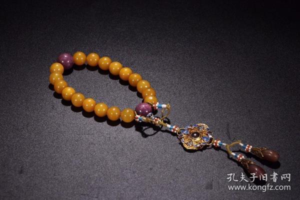旧藏寿山田黄圆珠手持