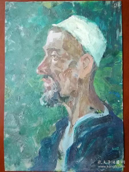 油画新疆维吾尔族老汉