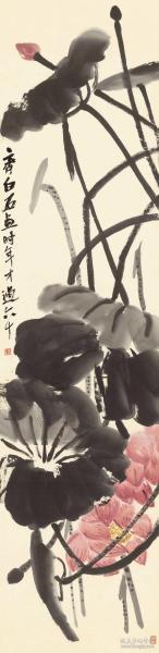 齐白石 荷花图轴梅兰芳纪念馆,纸本大小33.02*135厘米。宣纸原色