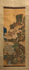 朋友寄卖,重器,低价售卖仅年前,日本古画青绿山水图,绢本绫裱木质轴头带木盒,画心41.5*107。美不胜收,古气非常,难得佳作