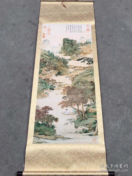 绢布名人中堂画 山水画