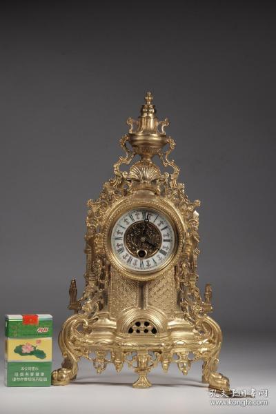 欧洲回流,铜鎏金卷草花卉纹座钟