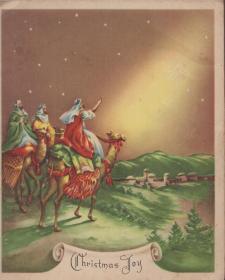 老圣诞贺卡一枚(折页全部展开来有16开大):1906年美国发行的圣诞贺卡【所标尺寸为合起来后的单面尺寸,不是展开尺寸】