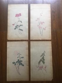 清末民国木板水印笺纸折枝花卉4张 一套  包邮