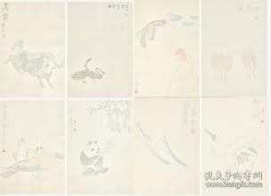 荣宝斋信笺纸木版水印吴作人动物八种48张全木板水印