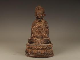 清代观音菩萨铜 座像