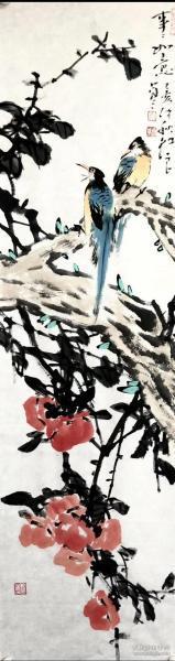 中国国画院副院长吴红良事事如意35x120