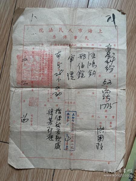 上海市人民法院民事传票