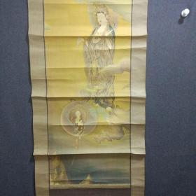 早期观世音菩萨宝相立轴一幅【印刷品】