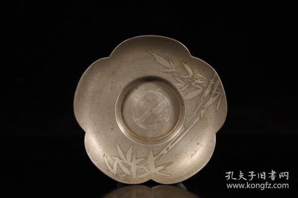 日本回流,纯银竹纹茶托五件