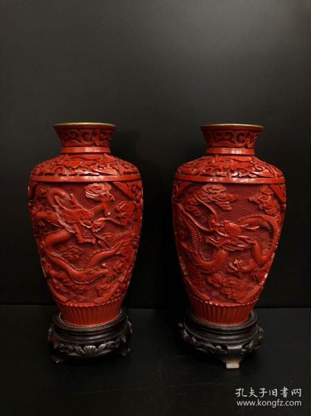 Ou zhou reflow  carved lacquered dragon dragon 纹 pattern appreciation bottle one pair