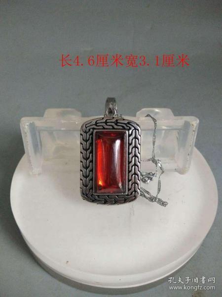 清代天然红宝石藏银项链