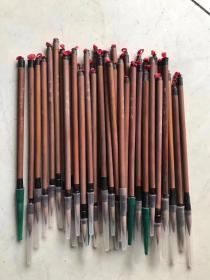 文革时期精品狼豪毛笔!皮壳包浆一流!保老保真!单价60一只,量多优。